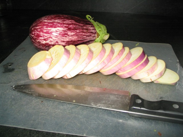 Zebra Eggplant and sliced Purple Blush